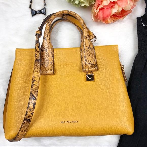 f005306df70b Michael Kors Bags | Rollins Large Snake Emboss Marigold | Poshmark
